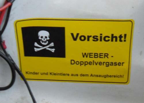 Warnschild Doppelvergaser