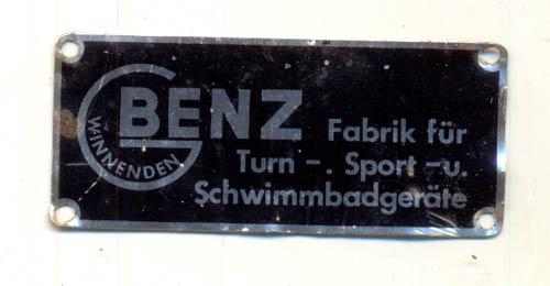 Typenschild Benz Sportgeräte